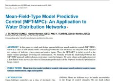 Modèle prédictif du type de champ moyen Contrôle (MFT-MPC) : Une demande de Réseaux de distribution d'eau